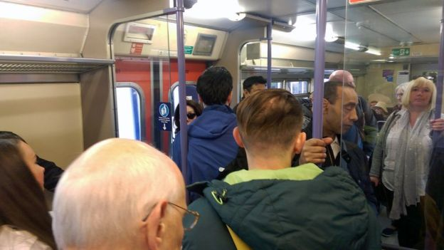Crowded off-peak train