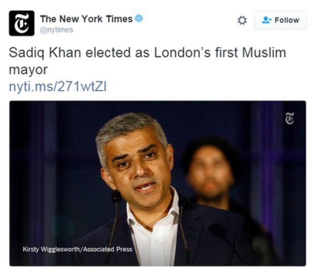 Tweet by New York Times: Sadiq Khan elected as London's first Muslim mayor