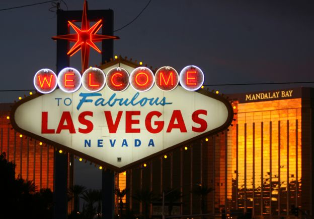 A view of the welcome sign on Las Vegas Boulevard, known as 'The Strip' in Las Vegas, Nevada