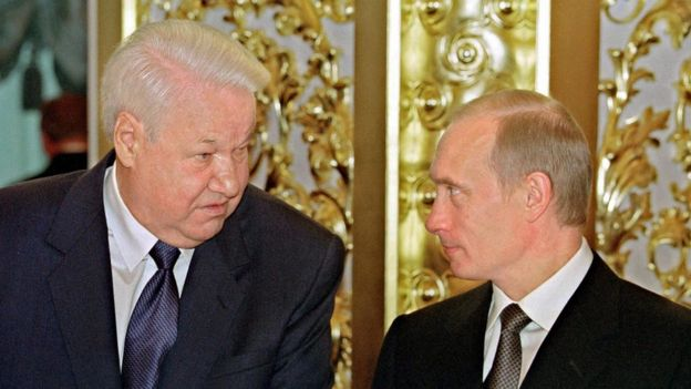 Boris Yeltsin and President Putin in 2001