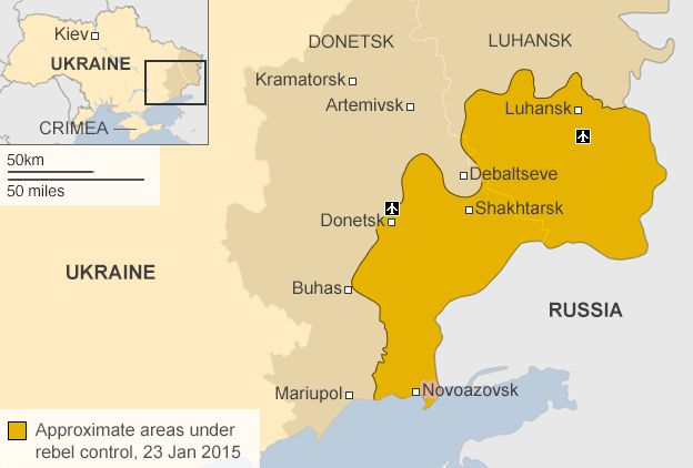 Карта, що показує лінії фронту на сході України 23 січня 2015