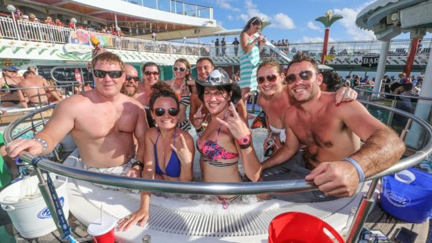 People in a hot tub on a music cruise