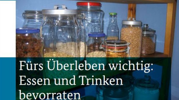 Germany's civil protection unit provides a list of food and drink provisions considered important for survival