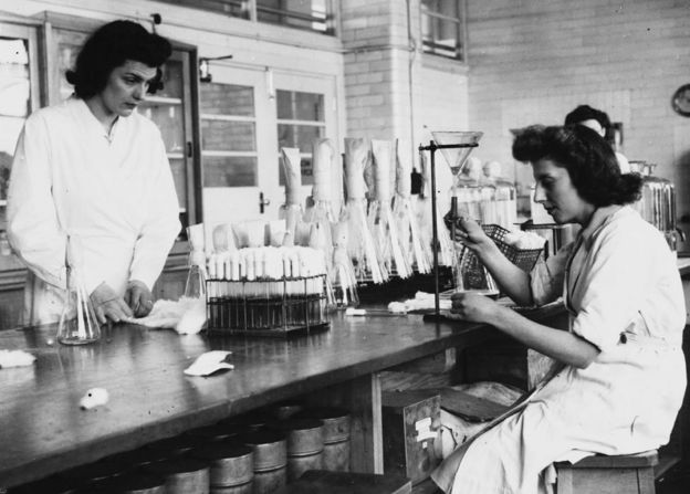 Women working in Distillers penicillin laboratory in Liverpool, in March 1946