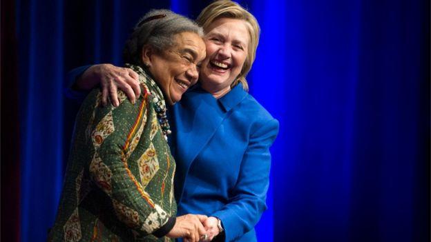 Hillary Clinton se reencontró con Marian Wright Edelman, su mentora durante años en la lucha por los derechos de los niños.