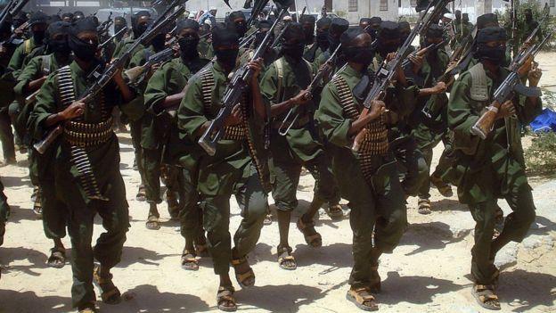 Al-Shabab militants practise drill
