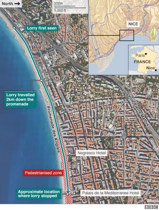 Map showing route taken in Nice attack - 15 July 2016
