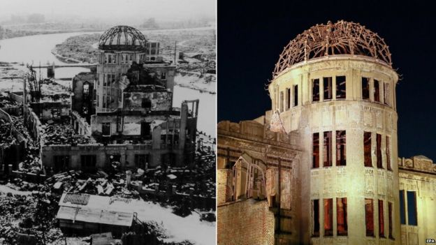 This building, now called the A Bomb Dome, survived the atomic blast and today it's a memorial