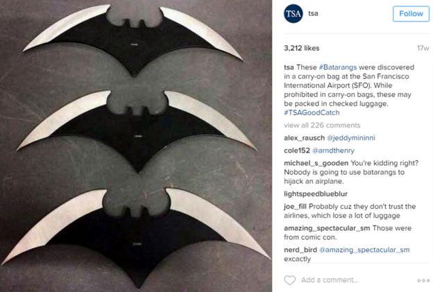 Batarangs confiscados por la TSA