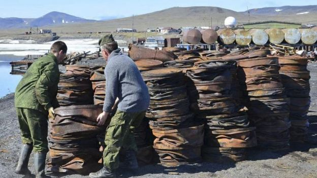 Rubbish being collected on Wrangel Island