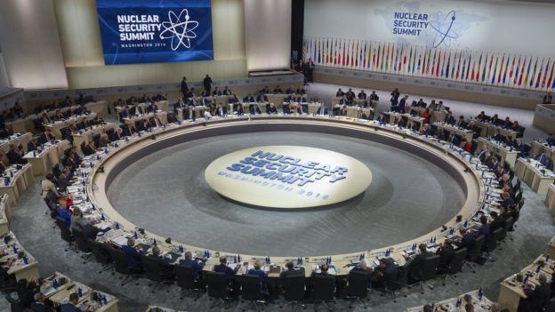US President Barack Obama hosts a plenary session during the 2016 Nuclear Security Summit at the Washington Convention Center