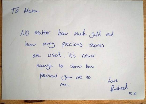 Mensaje escrito a mano de Rasheed a su madre