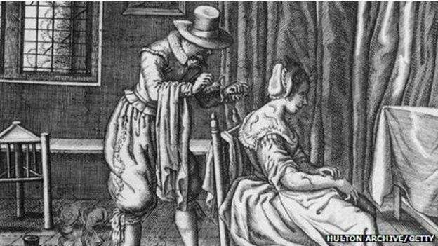 Imagem de uso de sanguessugas no século 17