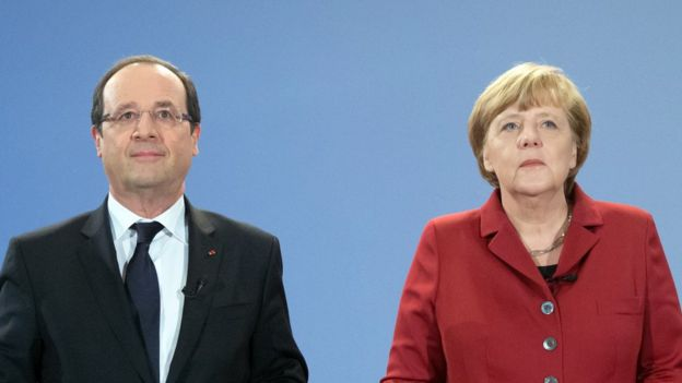Francois Hollande with Angela Merkel