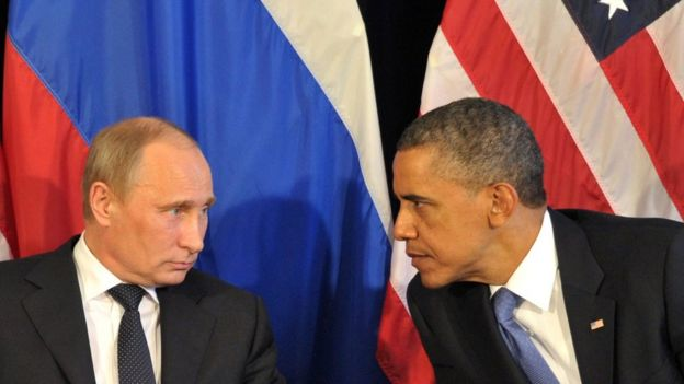 Russian President Vladimir Putin and former US President Barack Obama