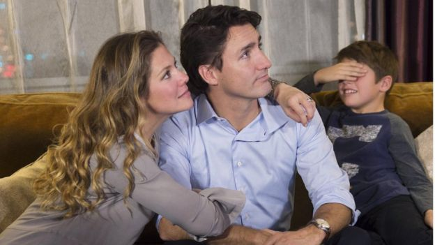 Justin Trudeau with his wife and son on election night
