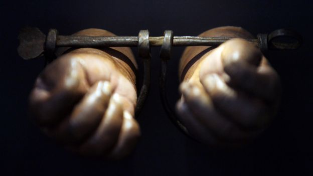 Two hands bound in wooden shackles