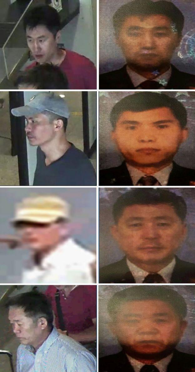 马来西亚警方周日公布的四名朝鲜籍嫌疑人的照片(上至下):洪宋鹤(音译,34岁)、李智铉(音译,33岁)、敖钟吉(音译,55岁)和李载南(音译,57岁)。