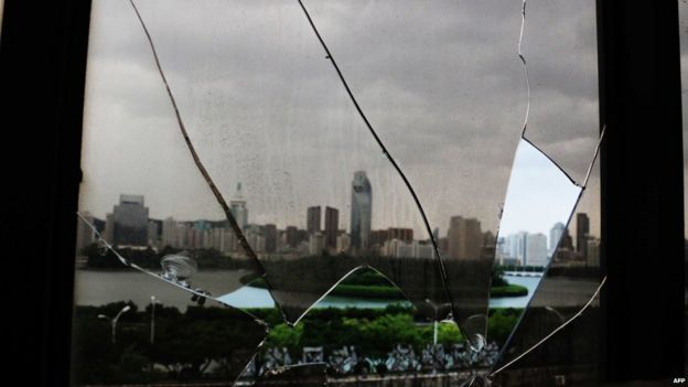 Broken window in Xiamen, Fujian province - 8 August