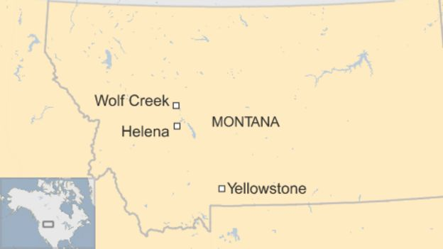 Wolf Creek, Helena, and Yellowstone shown on a map of Montana