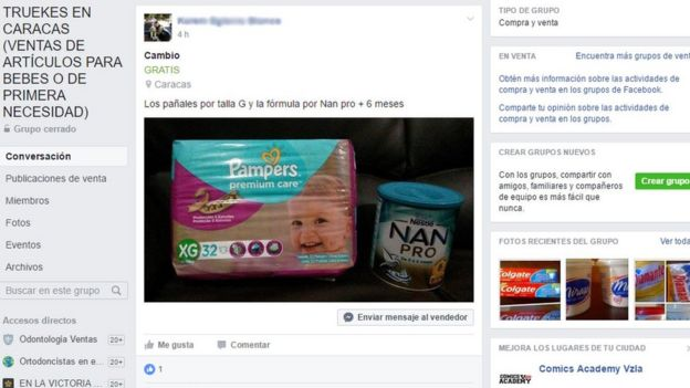 Imagen de un grupo de facebook para intercambiar productos