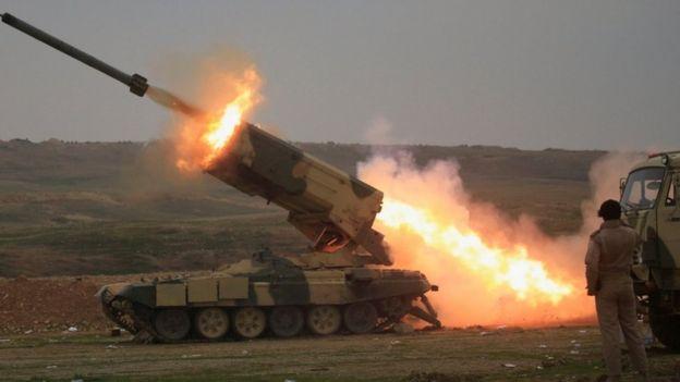 القوات العراقية تقصف مواقع تنظيم الدولة