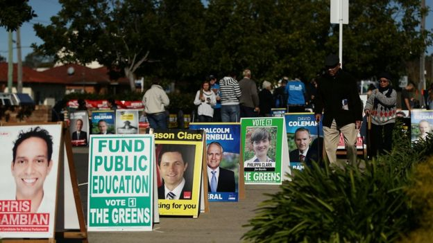 A series of campaign posters outside a polling station