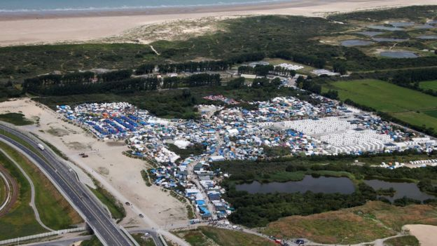 A aerial photograph of the Calais migrant camp known as the Jungle