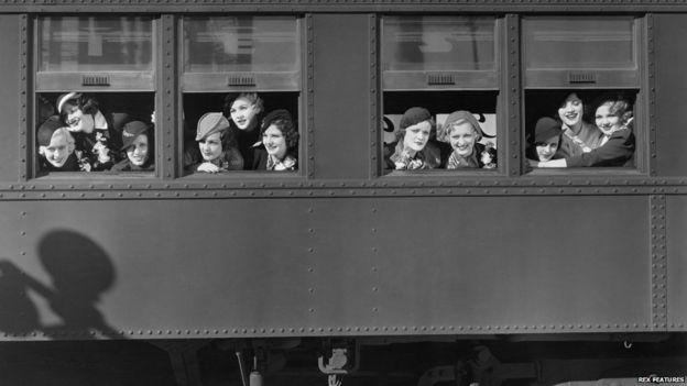 Women at a train window, 1940s