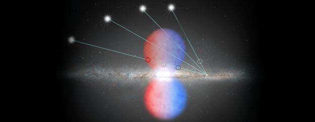 Ilustração da medição da luz dos quasares