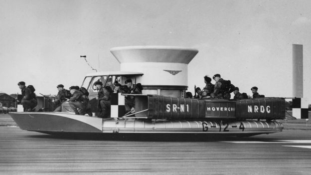 A Saunders-Roe hovercraft, with a group of Royal Marines on board, at the Farnborough air show, Sept 1959