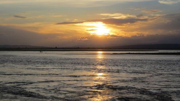 Kosi river at sunset