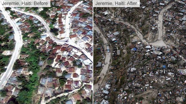 Imagem mostra o antes e depois da inundação na região de Jeremie.