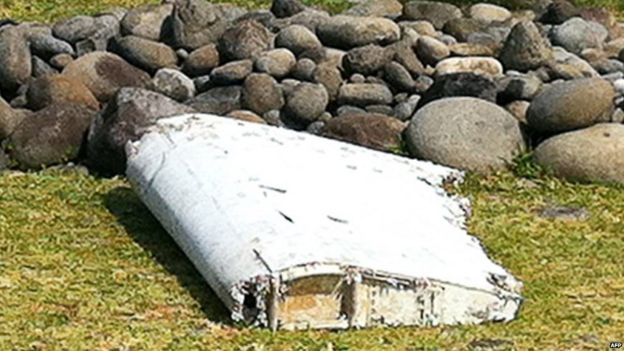 A piece of debris that washed up on the French Indian Ocean island of La Reunion