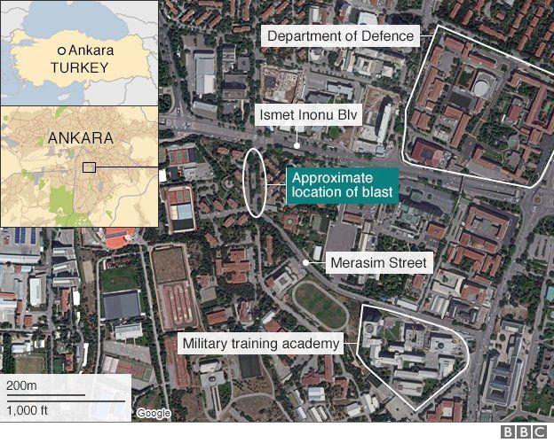 Map showing approximate location of blast, between Merasim Street and Ismet Inonu Boulevard