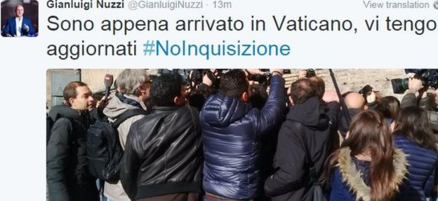 Gianluigi Nuzzi tweeted his arrival at the Vatican court