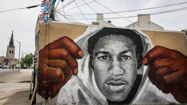 A mural in Baltimore pays tribute to the Florida teenager
