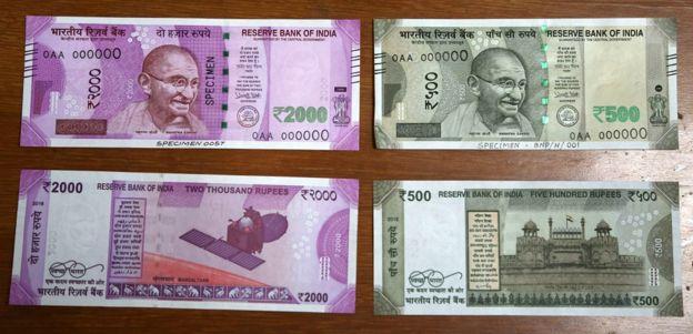 500 और 2000 के नए नोट.