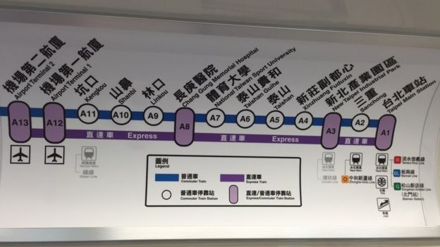 台灣機場捷運的線路圖