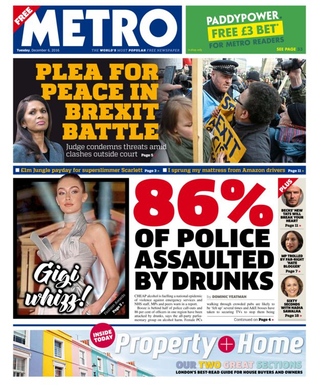 Metro front page - 06/12/16