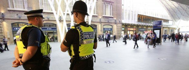 British Transport Police men with their backs turned