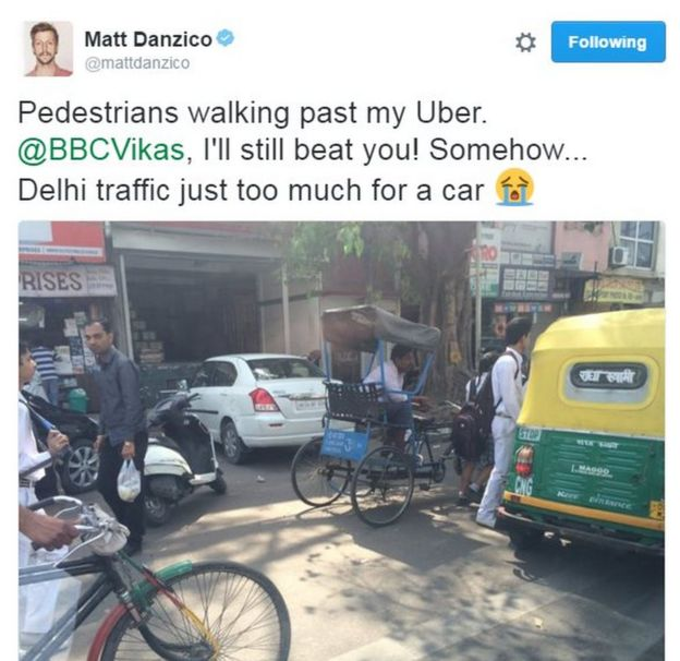 BBC Pop Up's Matt Danzico tweets about his Uber being stuck in traffic. Text reads:
