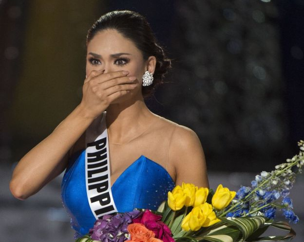 Miss Philippines Pia Alonzo Wurtzbach reacts to the announcement establishing her as Miss Universe 2015