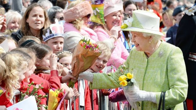 Queen Elizabeth II meeting well-wishers during a walkabout close to Windsor Castle as she celebrated her 90th birthday