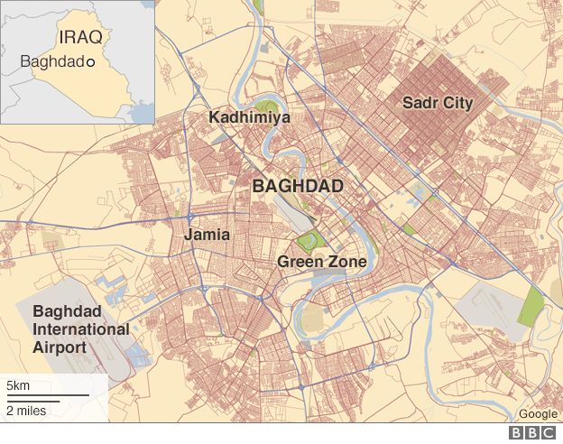 Map of Baghdad showing locations of Sadr City, Jamia and Kadhimiya