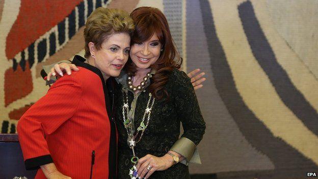 President Dilma Rousseff of Brazil (left) and Argentina's President Cristina Fernandez de Kirchner