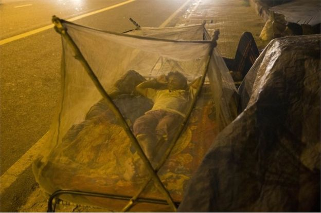 An Indian migrant labourer sleeps near a roadside under mosquitoes nets in New Delhi, India, Wednesday, Sept. 14, 2016