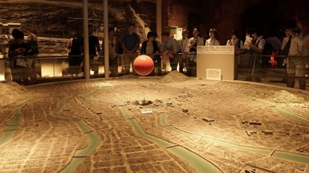 Picture of a model showing the target of the atomic bomb in Hiroshima