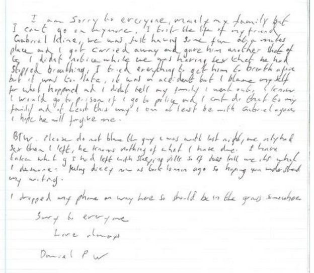 A copy of the alleged suicide note