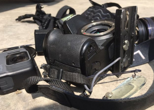 Picture of some of the BBC's broken equipment returned to the crew
